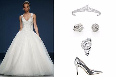 Look de noiva em branco e prata