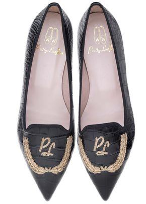 Ella black croc laurels, Pretty Ballerinas