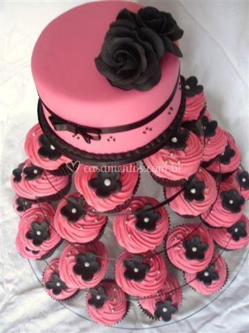 Torre de cupcakes debutantes