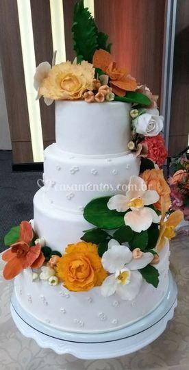 Cascata de flores de açúcar