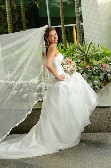 Detalhe do véu e do vestido