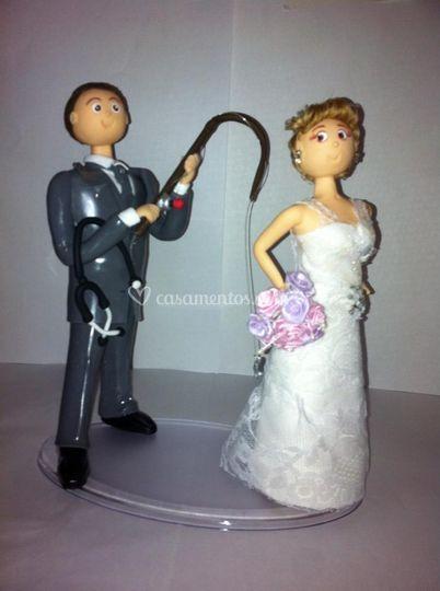 Noivo pescando a noiva
