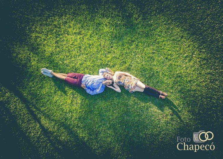 Ensaio de noivos.Foto de drone