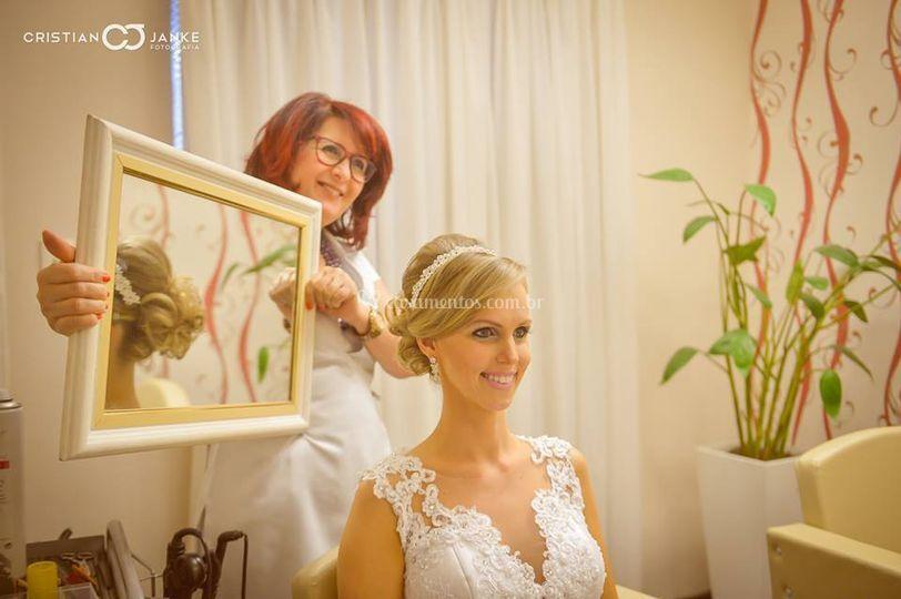 Penteado de noiva.