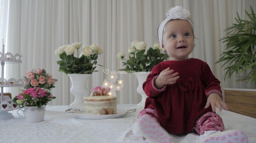Bolo batizado menina