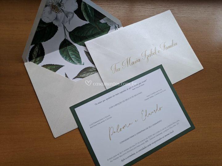 Convite forrado com caligrafia
