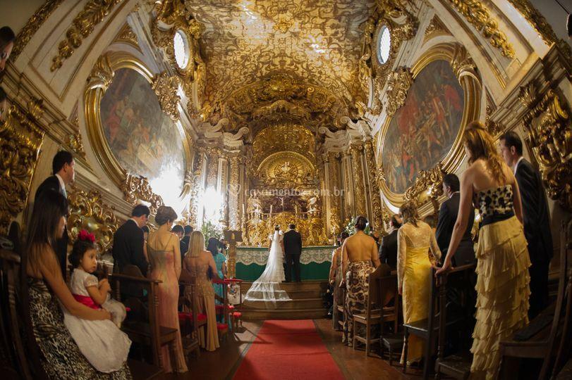 A cerimônia na igreja