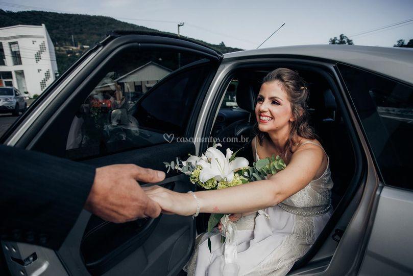 A chegada da noiva Luciana