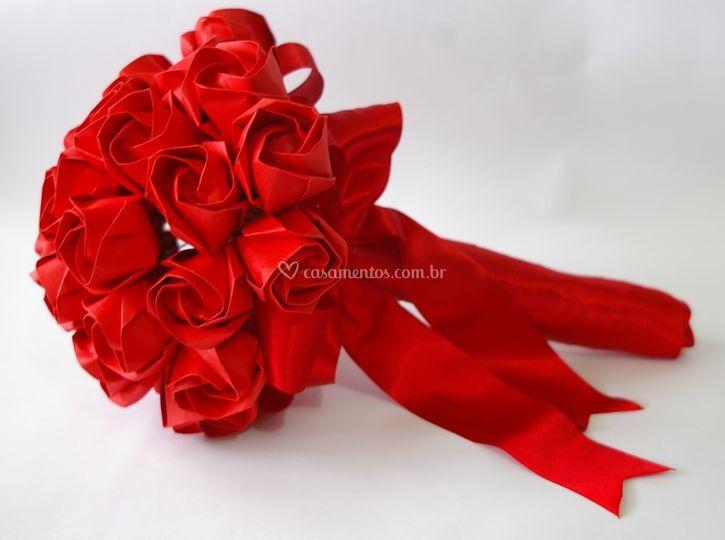Buquê de rosas de origami