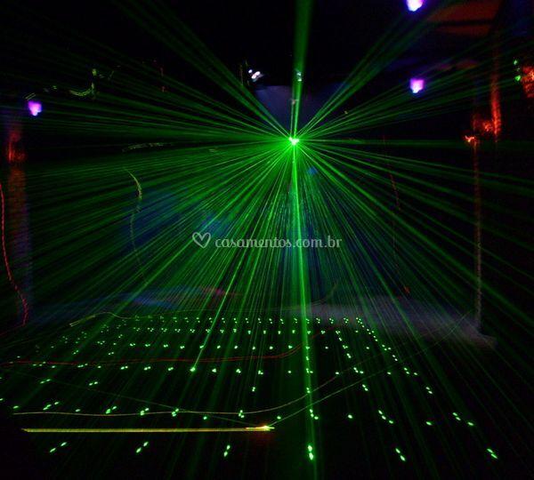 Laser verde e multicolor