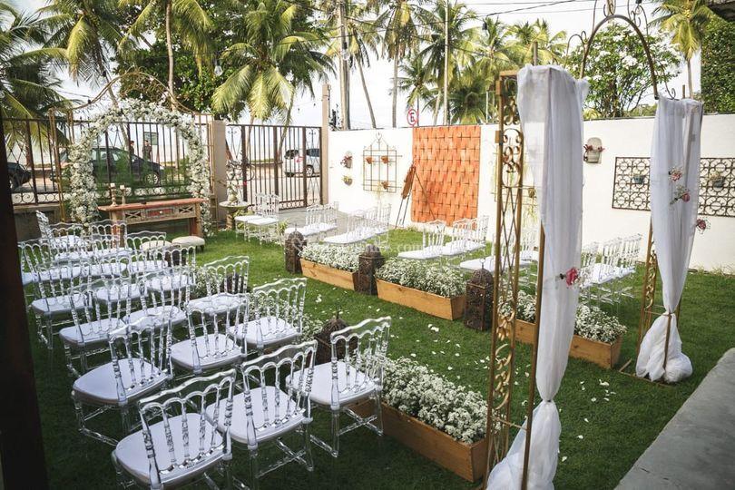 Jardim decorado para cerimônia
