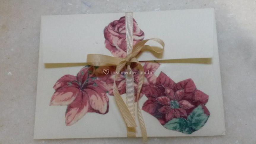 Convite decoupage rosas