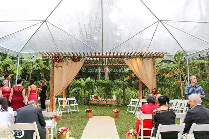 Visão interna tenda piramidal