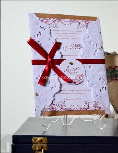 Convite com envelope Recorte