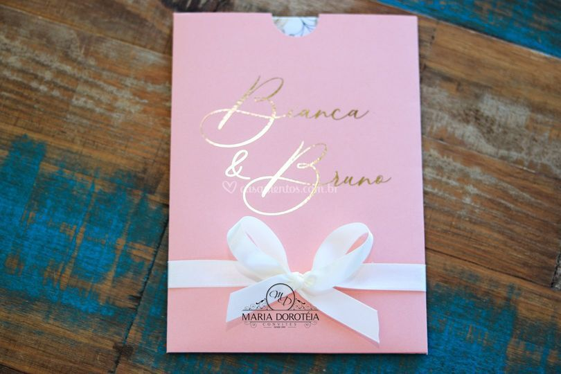 Convite rosê com hot stamping