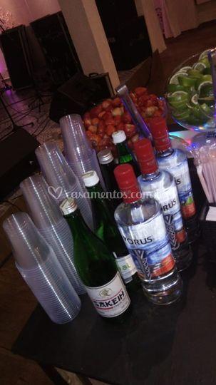 Disposição das bebidas no bar