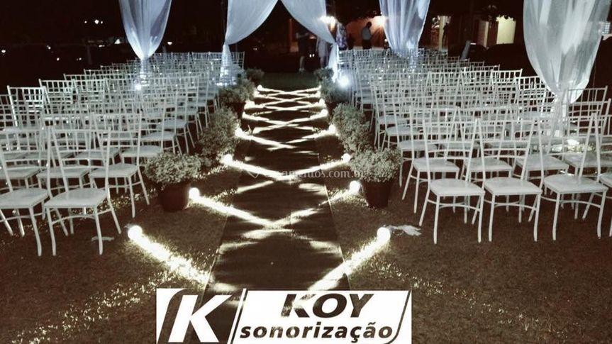 Passarela para noivas iluminad