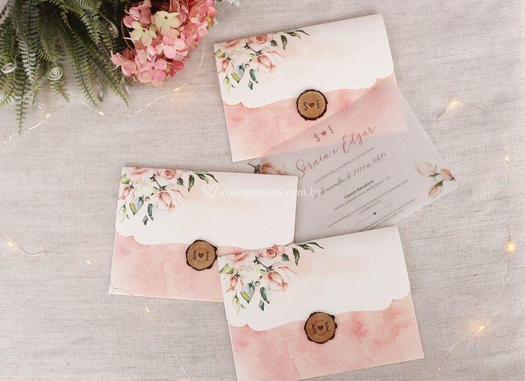 Convite aquarelado blush