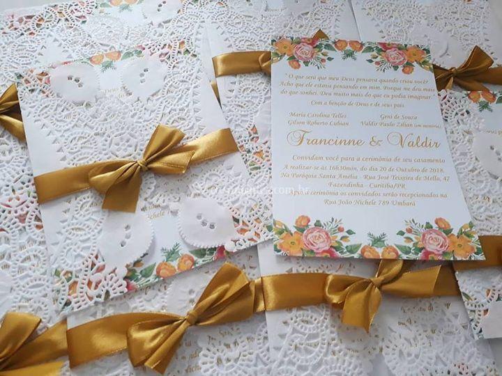 Convite de Casamento Rendado