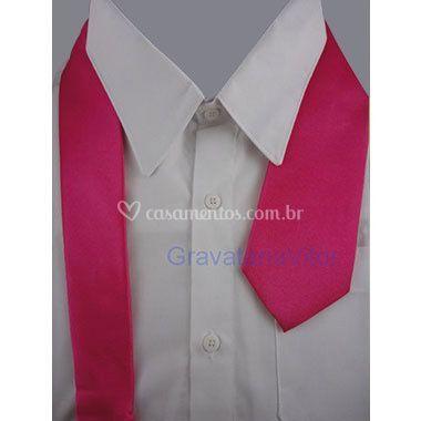 Gravata rosa pink tradicional