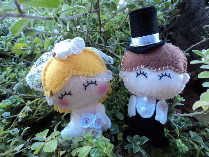 Casal de noivinhos em feltro