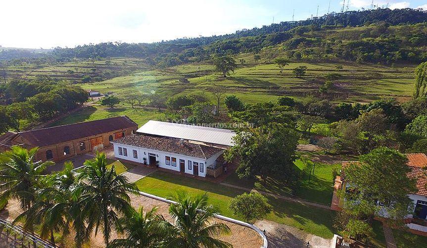 Vista aérea espaço de eventos de Fazenda Quilombo Limeira