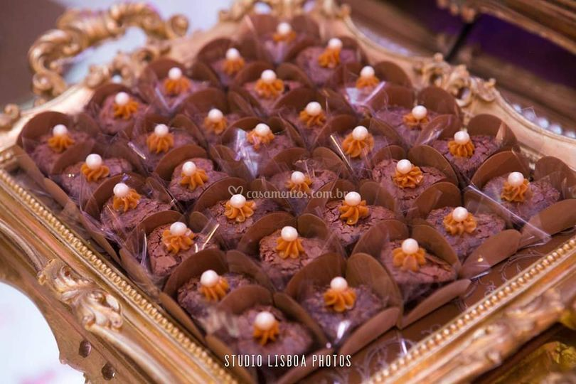 Mini brownie coração