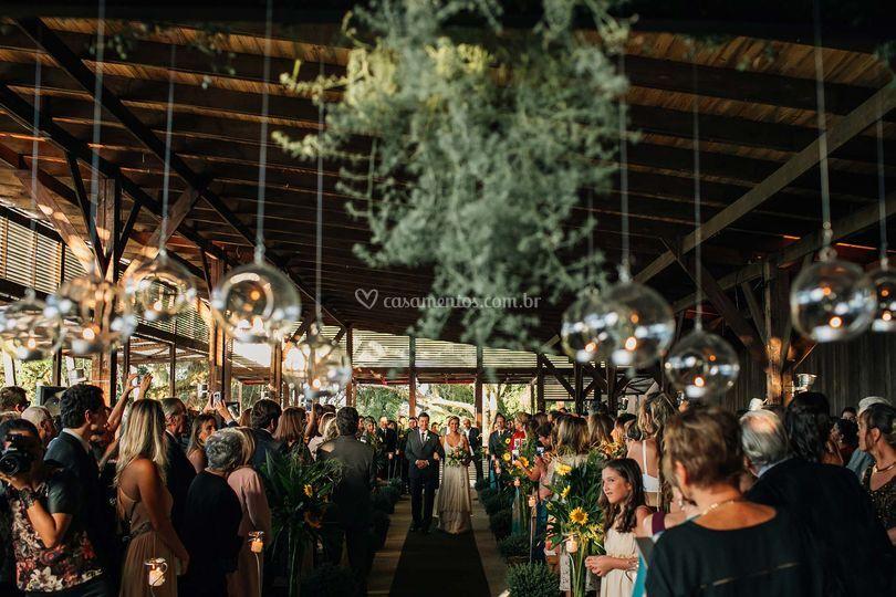 Cerimônia no pavilhão