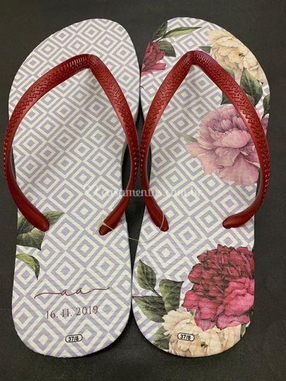 Chinelo losango floral