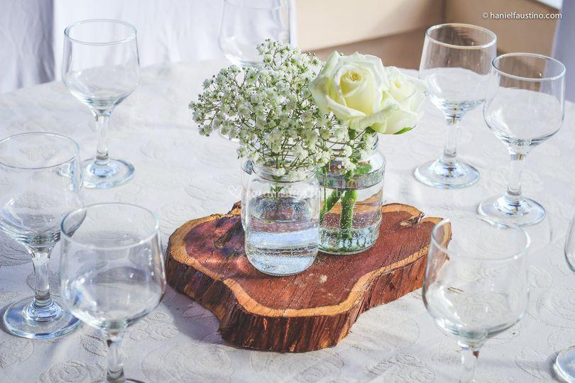 Decoração de mesa rustica
