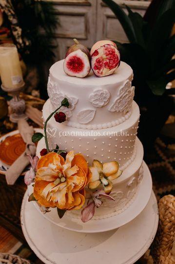 Frutas e flores em açúcar