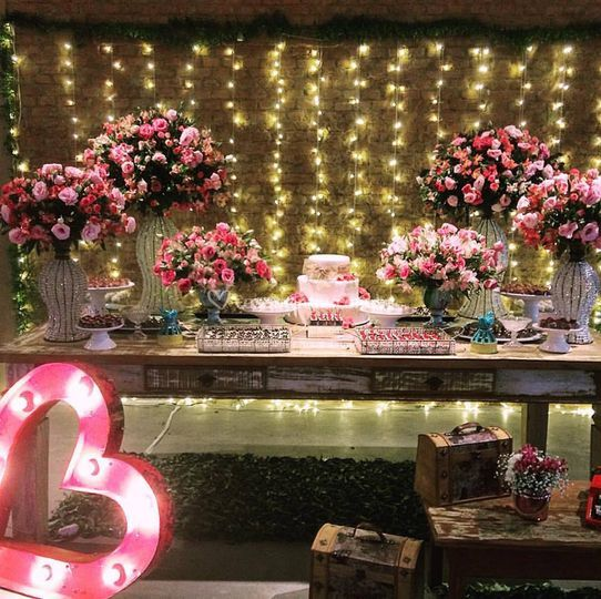 Mesa de bolo rustico chic