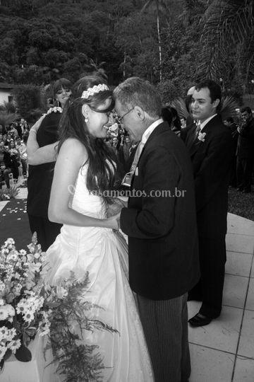 Pai e filha, muita emoção.