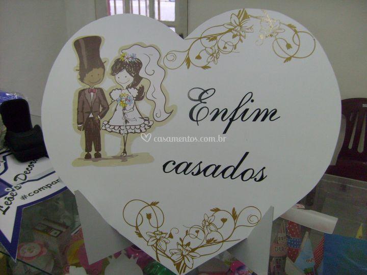 Placa para casamento em PVC