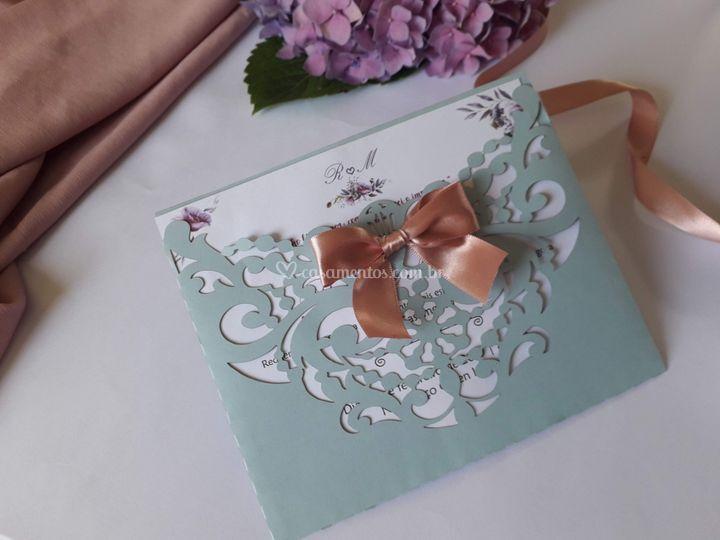 Convite Azul serenity e rosa