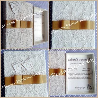 Convite Box com tecido e renda