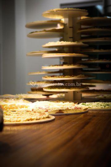 Torre de pizzas