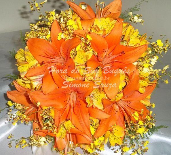 Buquê de noiva lírio laranja