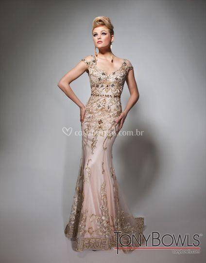 Vestido rosê em renda