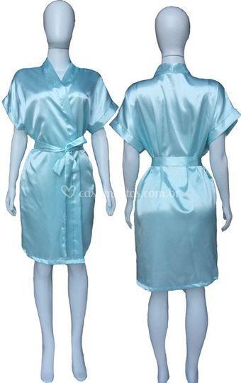 Robe Cetim Noiva Azul Bebe