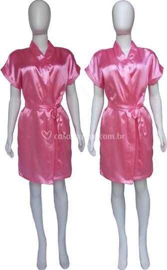 Robe Cetim Rosa Chiclete