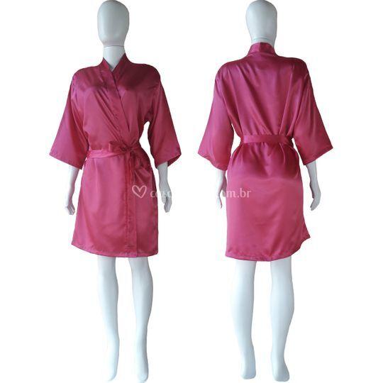 Robe de cetim manga 3/4 pink