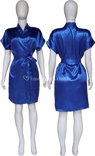 Robe Cetim Azul Royal