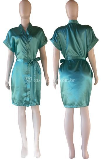 Robe Liso Cetim Verde Frozem