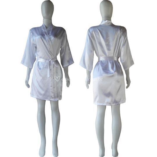 Robe de cetim manga 3/4 branco
