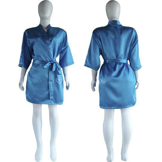 Robe Cetim Manga 3/4 Azul Danu