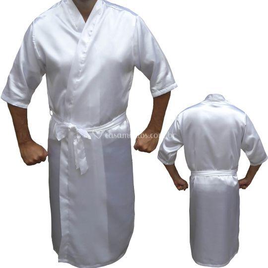 Robe masculino de cetim branco