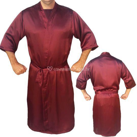 Robe masculino cetim marsala