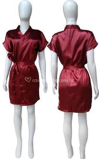 Robe Cetim Feminino Vinho