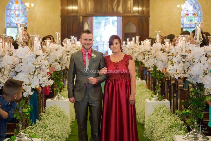 Entrada do noivo casamento, no
